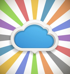 Speech cloud template with the color rays vector image