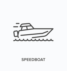 speedboat flat line icon outline vector image