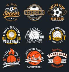 Sport t-shirt set with balls vector