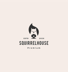squirrel home house mortgage logo icon mascot vector image