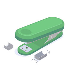 stationery green stapler with staples for stapling vector image