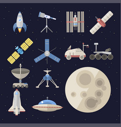 stylish space ship constellation astrology radar vector image