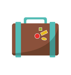 Suitcase travel with stickers icon vector