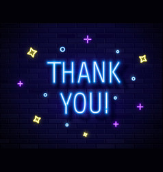 thank you realistic neon text sign isolated on vector image