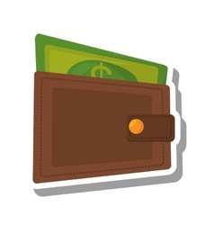 Wallet with bills isolated icon vector