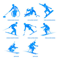 Winter sports icons - athletes with disabilities vector