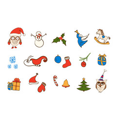 christmas icons elements for your design vector image vector image