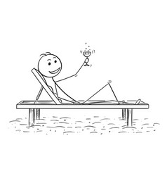 conceptual cartoon of successful man relaxing on vector image vector image
