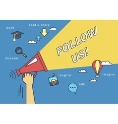 Follow us banner for social networks Flat line vector image vector image