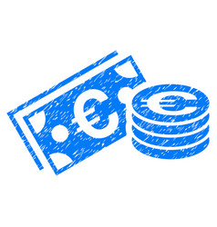 euro cash grunge icon vector image vector image