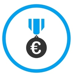 Euro honor medal rounded icon vector
