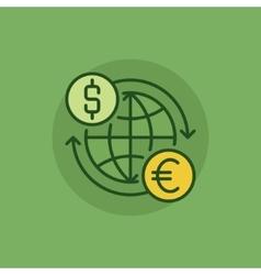Euro to dollar convert green icon vector image