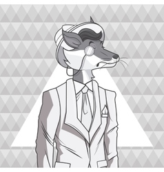 fox animal hipster style triangule background vector image