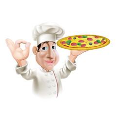happy pizza chef vector image vector image