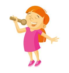 little singer girl vector image