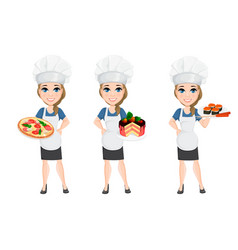 chef woman set cute cartoon character cook with vector image vector image