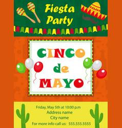 cinco de mayo invitation template flyer mexican vector image vector image