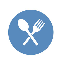 crossed fork and spoon icon placed in a blue vector image vector image