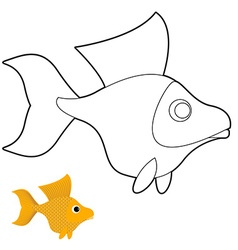 Goldfish coloring book Fantastic yellow fish vector image
