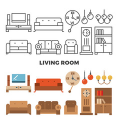 living room furniture and accessories collection vector image vector image