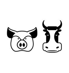 Pig and cow icons Head farm animal stencil Pork vector image
