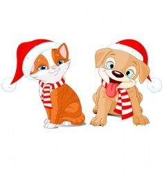 very merry puppy and kitten vector image