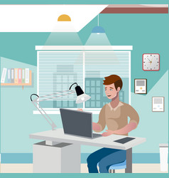 business man working on laptop vector image