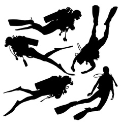Diving Silhouette vector image vector image