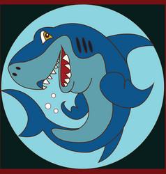 funny cartoon shark on the background vector image