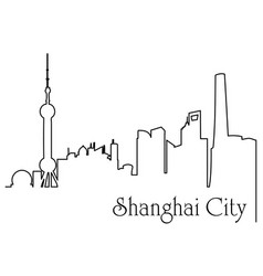 Shanghai city one line drawing vector