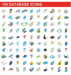 100 database icons set isometric 3d style vector