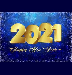 2021 blue 3d new year card snowflakes bg vector image