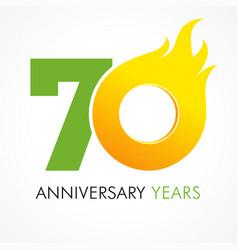 70 anniversary flame logo vector