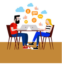 A boy and a girl surfing the internet vector