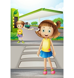 A girl and a boy at the road vector image