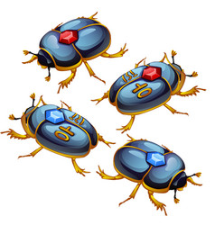 a set of figures of beetles scarabs with golden vector image