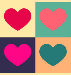 a set of hearts in bright colors vintage style vector image