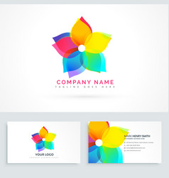 Abstract flower logo with clean business card vector