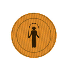 amber circular frame with training in jumping rope vector image