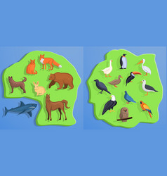animals banner set cartoon style vector image