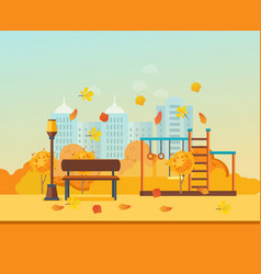 Autumn kids playground entertainment in form of vector