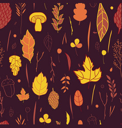 autumn pattern with the image of autumn vector image