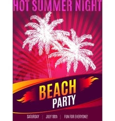 Beach Party design of flyer with place for text vector