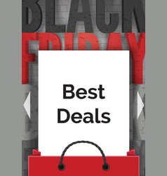 black friday best deals realistic banner vector image