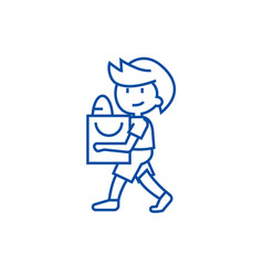 boy with shopping bag line icon concept boy with vector image