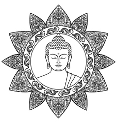 Buddha with Floral Decor vector