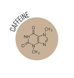Caffeine molecule chemical skeletal formula vector