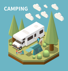 camping isometric concept vector image