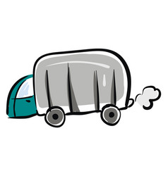 camping truck hand drawn design on white vector image