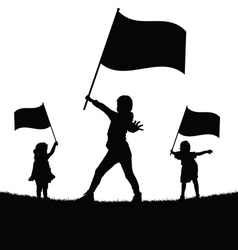 Children with flag silhouette vector